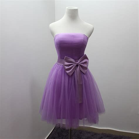 customized size light purple short bridesmaid dress with