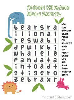 jungle animal word search activity printables printable word search puzzles for kids mr printables