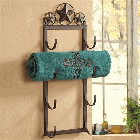 western bathroom accessories rustic lone star wall door mount towel rack