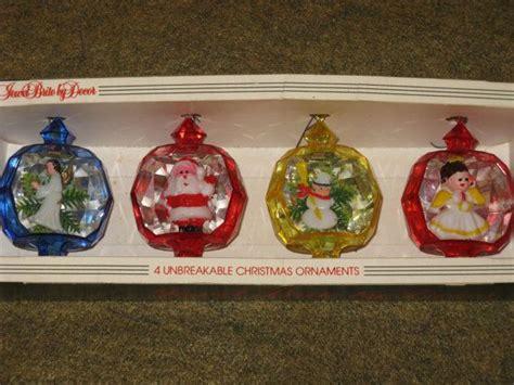 brims 1960s snowman angel vintage ornaments brite plastic diorama santa snowman set of 4 colorful