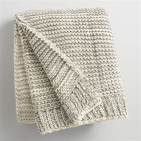 gray knit blanket gray and ivory knit sweater throw world market