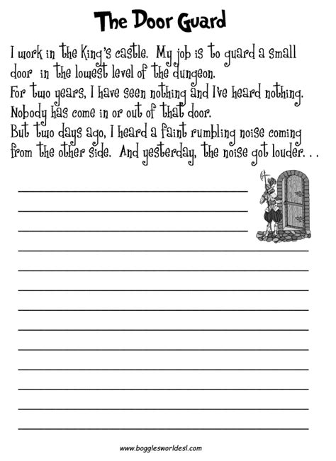 Creative Writing Worksheets For Grade 7 by Esl Creative Writing Worksheets