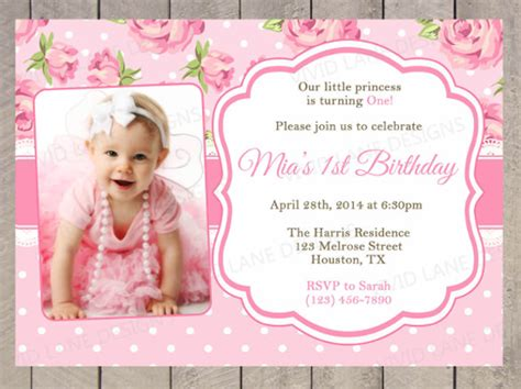 1st Birthday Invitation Card Template Free by Photo Birthday Invitation Template 23 Free Psd Vector