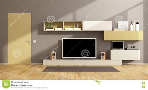 Free Tv With Living Room Set White Living Room With Tv Set Royalty Free Stock Image Cartoondealer 87387622