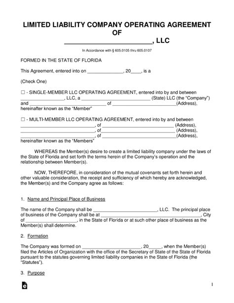 florida llc operating agreement sle free florida llc operating agreement forms pdf word