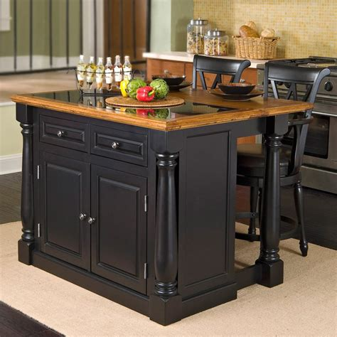 Mobile Kitchen Islands With Seating Home Styles Monarch Slide Out Leg Kitchen Island With