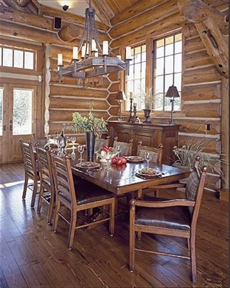 log home dining room cabin living