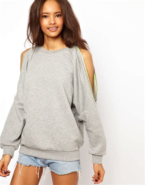 Cold Shoulder Sweatshirt asos sweatshirt with zip cold shoulder in gray lyst