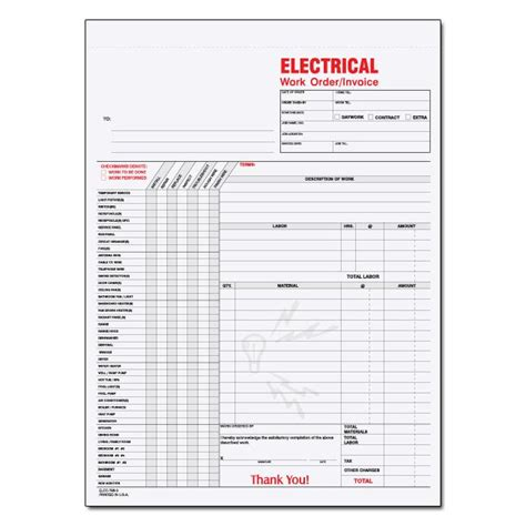sle invoice electrical contractor electrical contractor forms custom carbonless