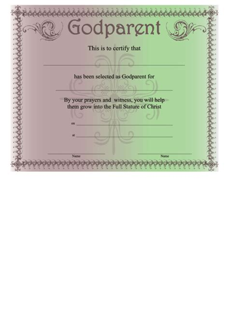 godparent certificate template godparent certificate template purple green printable