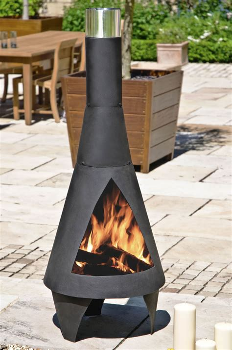 Modern Cast Iron Chiminea Colorado Black Large Steel Chimenea By La Hacienda