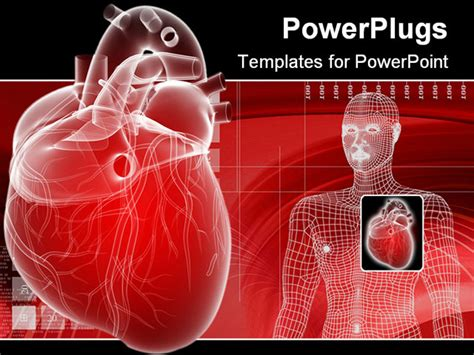 powerpoint template displaying 3d heart depiction and