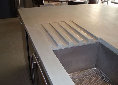 concrete countertop with integrated sink gray concrete countertop with integral drainboards and