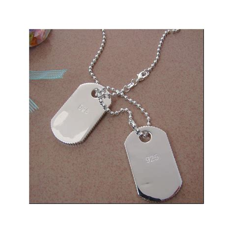 cadenas de plata dobles chapas militares plata colgantes militares placas