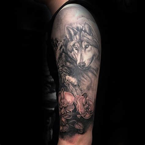 quarter sleeve wolf tattoo 70 orchid tattoos for men timeless flower design ideas