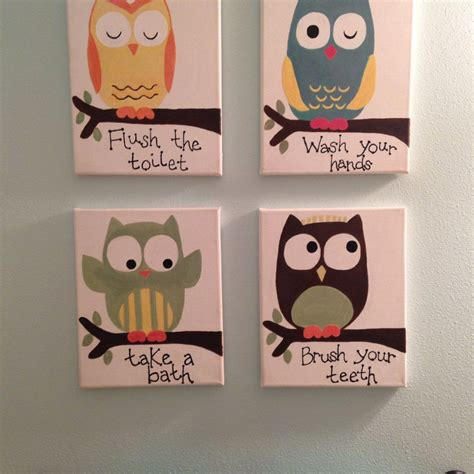 art for kids bathroom hometalk kids owl bathroom art