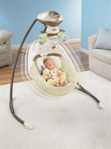 baby sleeping in swing com fisher price snugabunny cradle n swing with