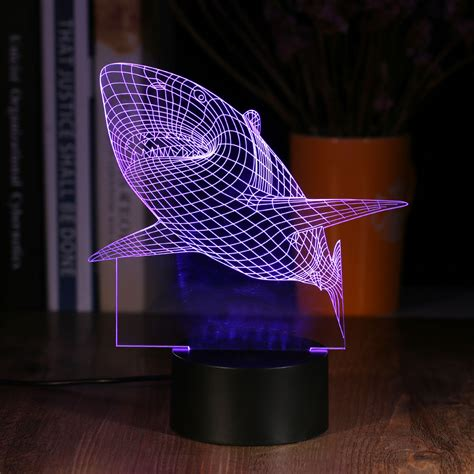 2017 New Creative Shark Led 3d Multi Colored Night Light Colored Lights