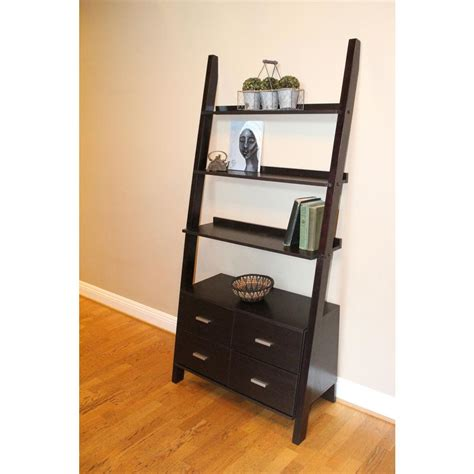 ladder bookcase simpli home acadian tobacco brown ladder bookcase
