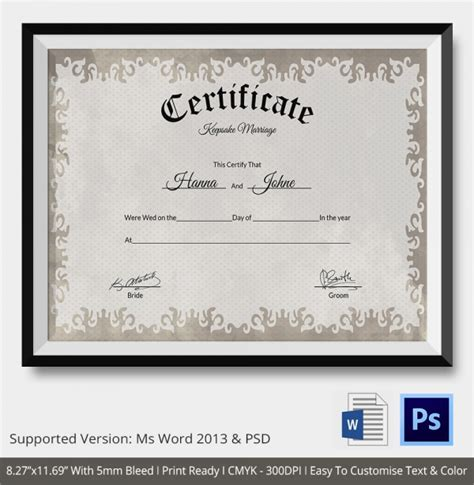 28 keepsake marriage certificate template sle marriage