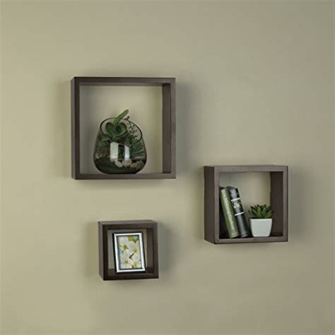 Square Hanging Shelves Melannco Set Of 3 Square Wood Shelves Espresso New Ebay