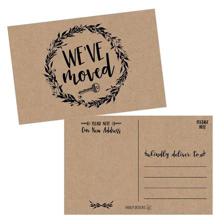 we moved cards templates set of 50 rustic kraft we ve moved postcards change of