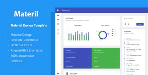 20 Best Responsive Admin Dashboard Templates For Web Apps 2018 Useful Blogging Material Design Admin Template Free