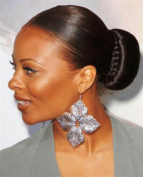 bun ponytails for black women pictures of sleek bun hairstyle for black women