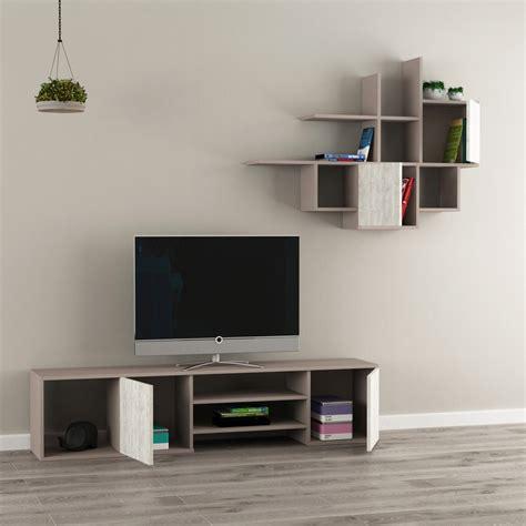mobile parete attrezzata zayden parete attrezzata mobile tv e libreria sospesa in legno