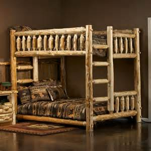 Cedar lake full over queen log bunk bed by jhe s log furniture place