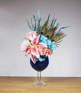 new peacock feather blue and pink flower floral