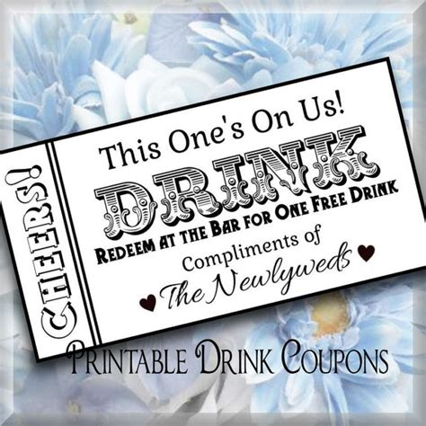 printable drink tickets drink tickets diy wedding printable instant download digital