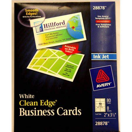 Avery Clean Edge Business Card Templates by Avery Clean Edge Business Cards White 80 Count Walmart