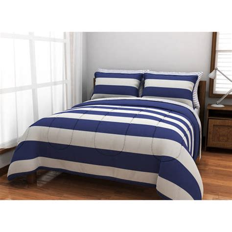 queen mainstays urban stripe bed in a bag coordinated bedding set mainstays stripe bed in a bag coordinated bedding set walmart