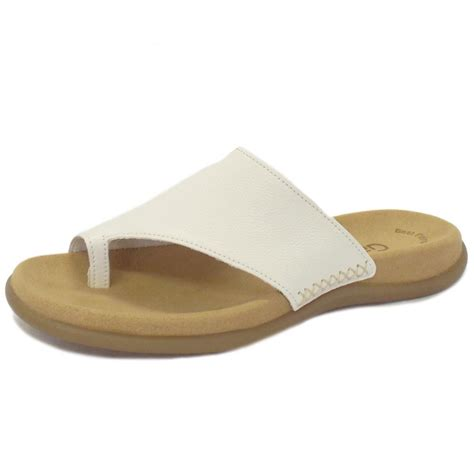 sandals with toe loop gabor sandals lanzarote white leather mules mozimo