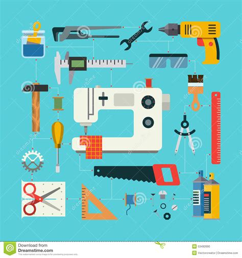 pattern drafting tools dressmaking flat design vector handmade concept stock vector image