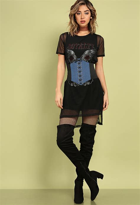 layered mesh rock n roll graphic dress shop dresses at