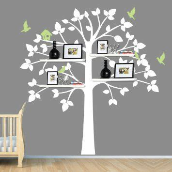 tree wall sticker with shelves childrens wall decals white tree wall decal