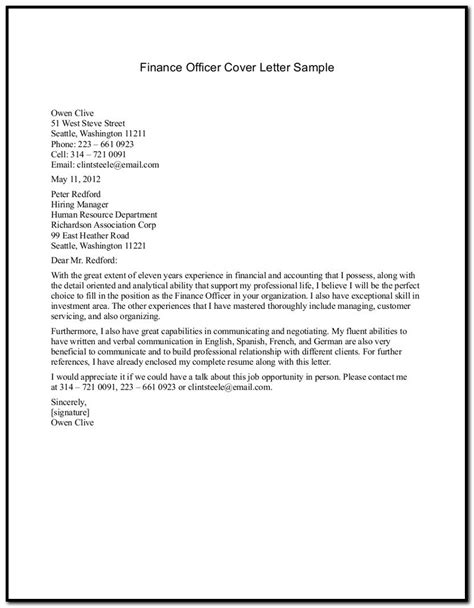 finance cover letter graduate financial analyst cover
