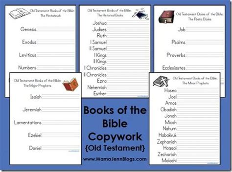 Books Of The Bible Worksheet by Testament Books Of Bible Copywork Bible Studies