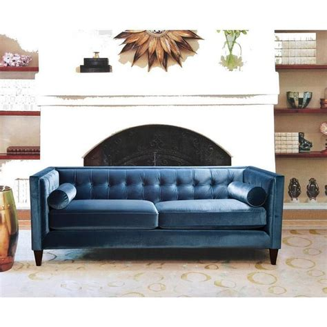 blue velvet tufted sofa blue velvet polyester tufted back sofa