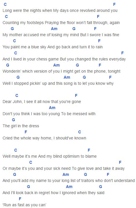 dear john taylor swift lyrics and chords dear john chords capo 4 taylor swift taylor swift