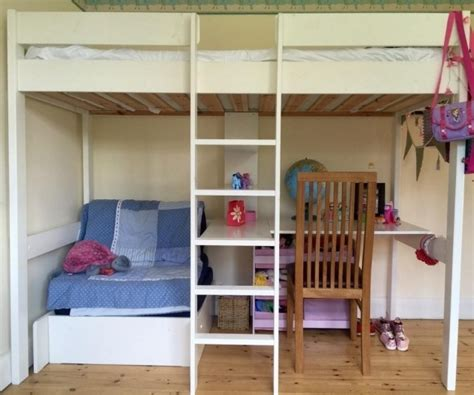 Loft Bed Underneath by White Polished Pine Wood Loft Bunk Bed With Table