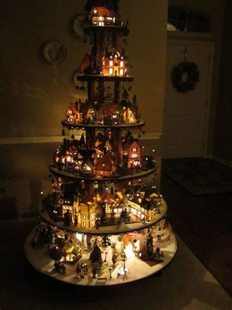 christmas village tree display pattern pattern for village house display stand dept 56 lemax
