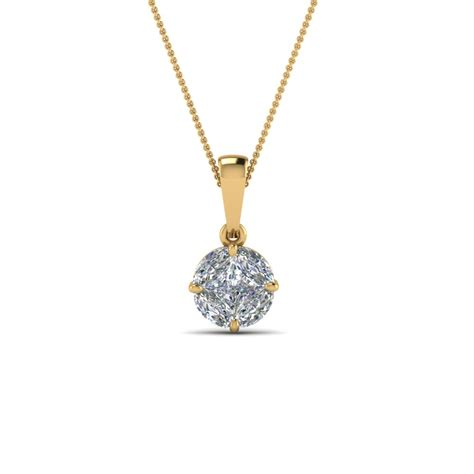 pressure set solitaire pendant in 14k yellow gold