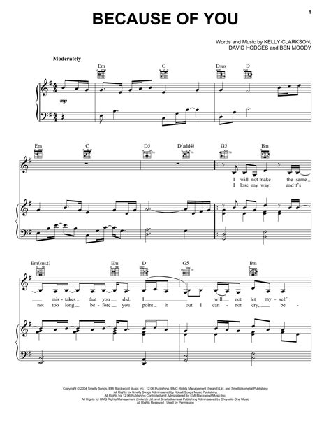 tutorial piano because of you because of you sheet music by kelly clarkson piano vocal