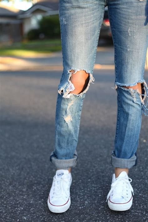 super cute ripped jeans  converse
