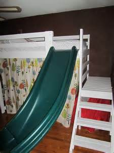 Bunk Bed With Slide And Stairs White C Loft Bed With Stairs Slide And Fort Diy Projects