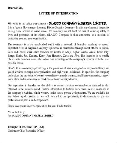 company introduction letter format 7 sle introductory letter exles in word pdf