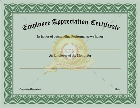 Employee Recognition Certificate Template Appreciation Awards Certificates Templates Free Employee Recognition Template